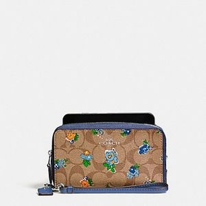 Coach Signature Floral Logo Double Zip wallet